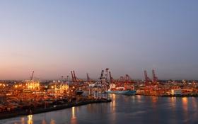 Картинка корабль, пристань, корабли, кран, вечер, порт, port