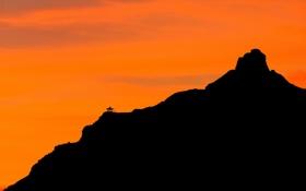 Картинка закат, азия, гора, силуэт, контраст, храм