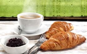 Обои капли, джем, croissant, завтрак, coffee, дождь, breakfast