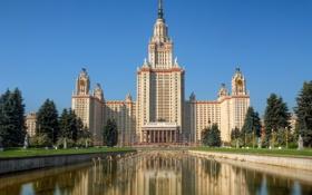 Картинка пейзаж, Lomonosov Moscow State University, фонари, Москва, вода, канал, ели