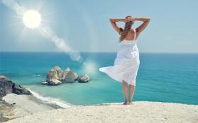 Обои море, пляж, лето, девушка, солнце, отдых, summer