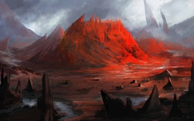 Картинка гора, арт, cloudminedesign, red mountian