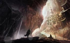 Картинка птицы, скалы, человек, арт, ступени, храм
