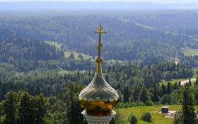 Обои лес, крест, церковь, купол