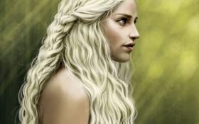 Картинка девушка, волосы, профиль, Игра Престолов, Game of Thrones, Daenerys Targaryen