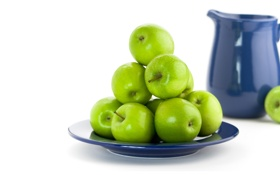 Обои тарелка, фрукты, кувшин, яблоки