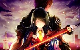 Обои девушка, закат, оружие, катана, аниме, арт, парень