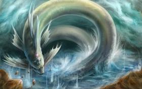 Картинка камни, магия, молнии, дракон, человек, змея, монстр
