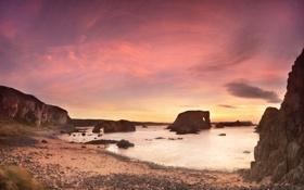 Картинка закат, камни, берег, Irish Coasts, Elephant Rock, скалы, море