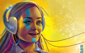 Картинка девушка, улыбка, краски, наушники, арт