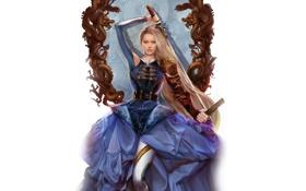 Картинка рама, Девушка, драконы, меч, блондинка