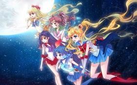 Картинка звезды, девушки, луна, sailor mars, sailor moon, tsukino usagi, mizuno ami