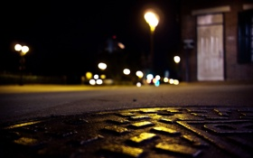 Картинка дорога, город, огни, вечер, люк, боке