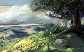 Картинка трава, дерево, ветер, листва, камень, холм, нарисованный пейзаж
