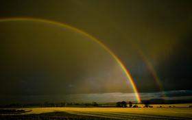 Обои небо, поля, радуга