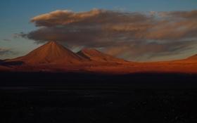 Обои закат, облака, небо, горы, вечер, Чили