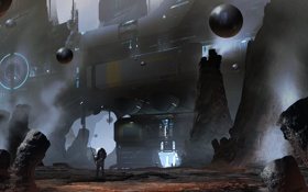 Обои скалы, шары, человек, корабль, сооружение, арт