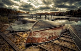 Картинка природа, озеро, лодки