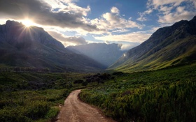Картинка дорога, солнце, горы, утро, долина