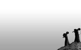 Обои серый, фон, люди, обои, минимализм, гитары, холм