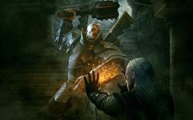 Обои магия, доспехи, воин, ступени, булава, латы, The Witcher 2