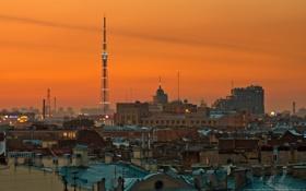 Обои ночь, город, здания, башня