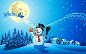 Обои Reindeer, полная лун, шарф, новый год, snowman, new year, santa claus