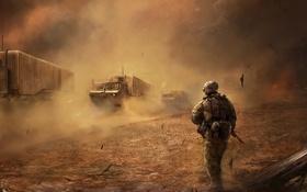 Картинка грузовики, машины, война, пустыня, буря, солдат, war