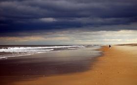Картинка песок, море, волны, небо, пейзаж, тучи, берег