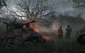 Обои война, здание, солдаты, танки