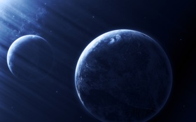 Обои planets, звезды, свет, nebula, space
