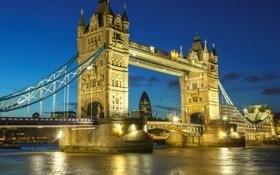 Обои река, Лондон, небо, мост, вечер, огни