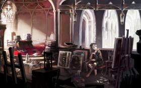 Обои девушка, замок, краски, интерьер, художник, картины, мастерская