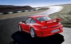 Картинка дорога, авто, движение, скорость, трасса, поворот, Porsche 911 GT3