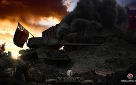 Обои флаг, танк, танки, WoT, Мир танков, tank, World of Tanks