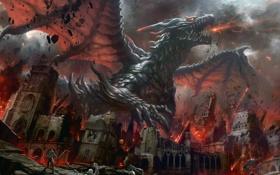 Обои город, огонь, Дракон, развалины, битва