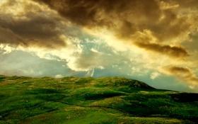 Обои небо, трава, камни, фото, холмы, пейзажи