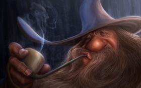 Картинка дым, трубка, маг, гендальф, lord of the rings, gandalf