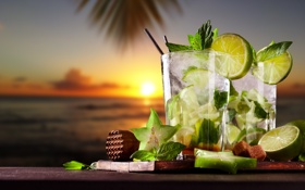 Обои море, пляж, закат, коктейль, лайм, fresh, drink