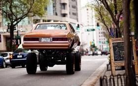 Обои авто, город, боке, задок, тюнинг