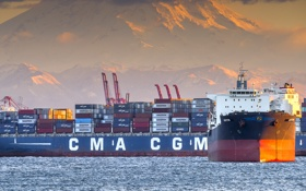 Обои pacific ocean, usa, ship, harbor, seattle, container