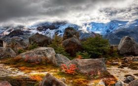 Картинка камни, небо, облака, Argentina, горы, склон, снег