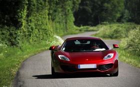 Обои дорога, трава, деревья, красный, McLaren, тень, red