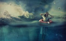 Обои море, волны, девушка, рыбы, птицы, креатив, чайки
