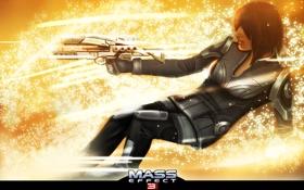 Обои девушка, оружие, искры, Ashley, Mass Effect, высрел