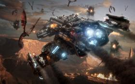 Картинка Бой, Космический Корабль, Старкрафт 2, Star Craft 2, Зерги