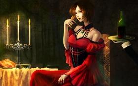 Картинка девушка, вино, бокал, свечи, Vocaloid, Akujiki Musume Conchita