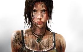 Обои взгляд, фон, майка, грязь, Tomb Raider, lara croft