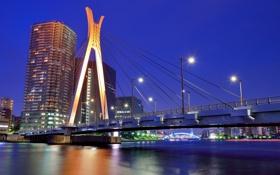 Картинка река, фонари, Токио, синее, ночь, столица, огни