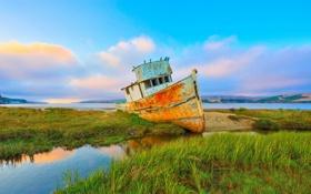 Картинка лето, озеро, корабль